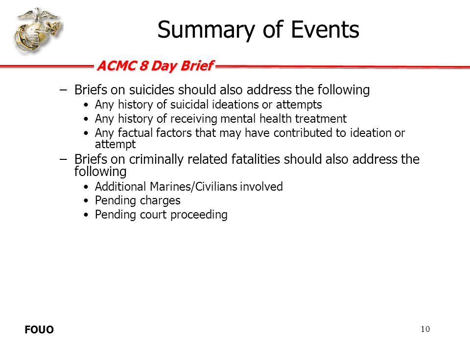 Summary of Events Briefs on suicides should also address the following