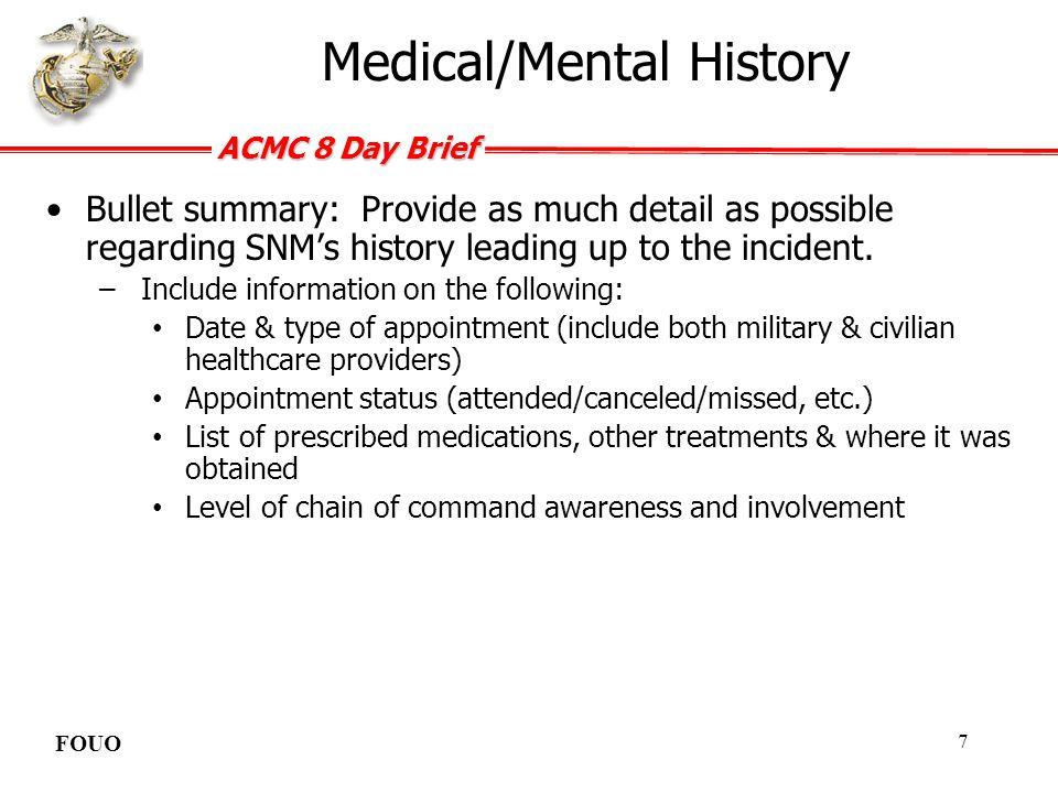 Medical/Mental History