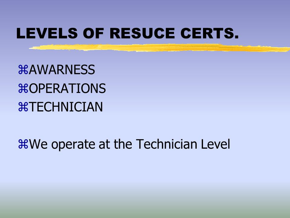 LEVELS OF RESUCE CERTS. AWARNESS OPERATIONS TECHNICIAN