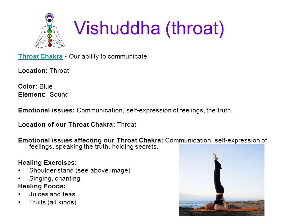 Vishuddha (throat) Throat Chakra - Our ability to communicate.