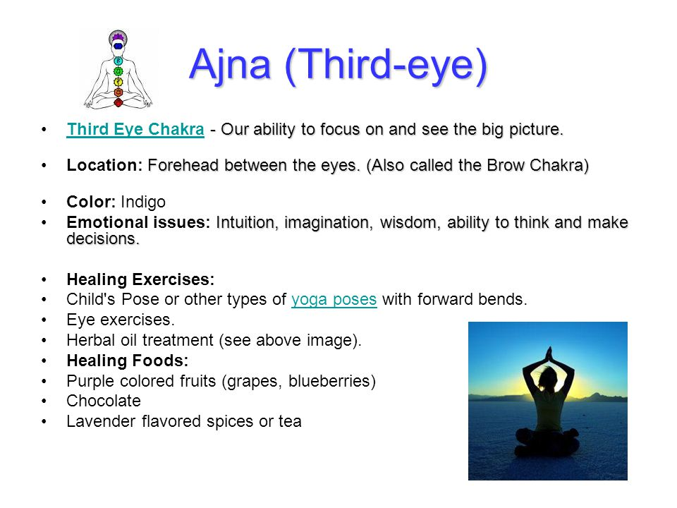 Ajna (Third-eye) Third Eye Chakra - Our ability to focus on and see the big picture.