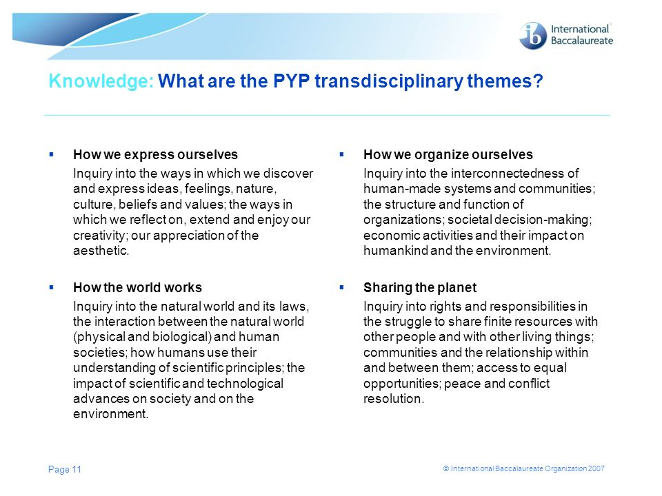 Knowledge: What are the PYP transdisciplinary themes