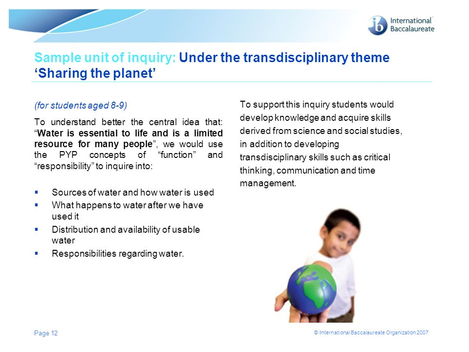 Sample unit of inquiry: Under the transdisciplinary theme 'Sharing the planet' (for students aged 8-9)