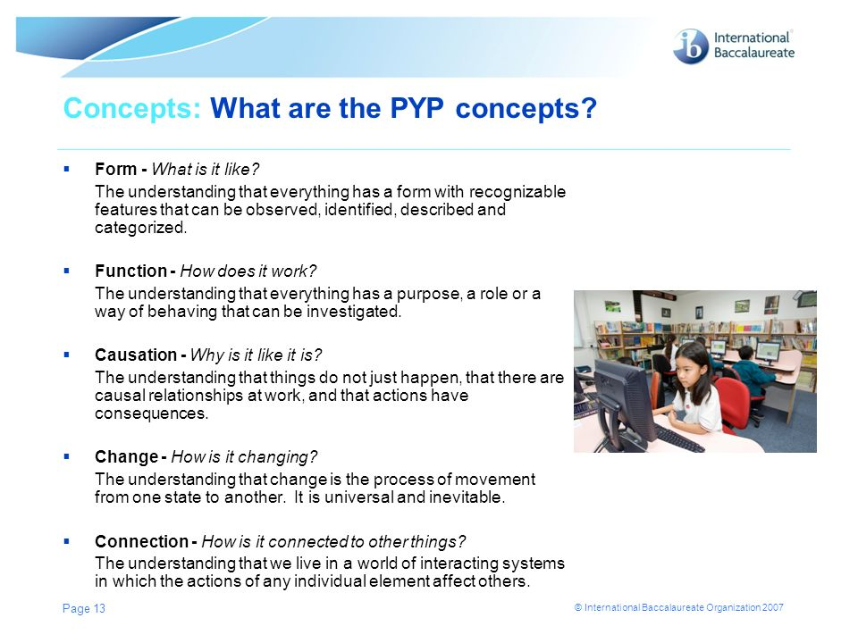 Concepts: What are the PYP concepts