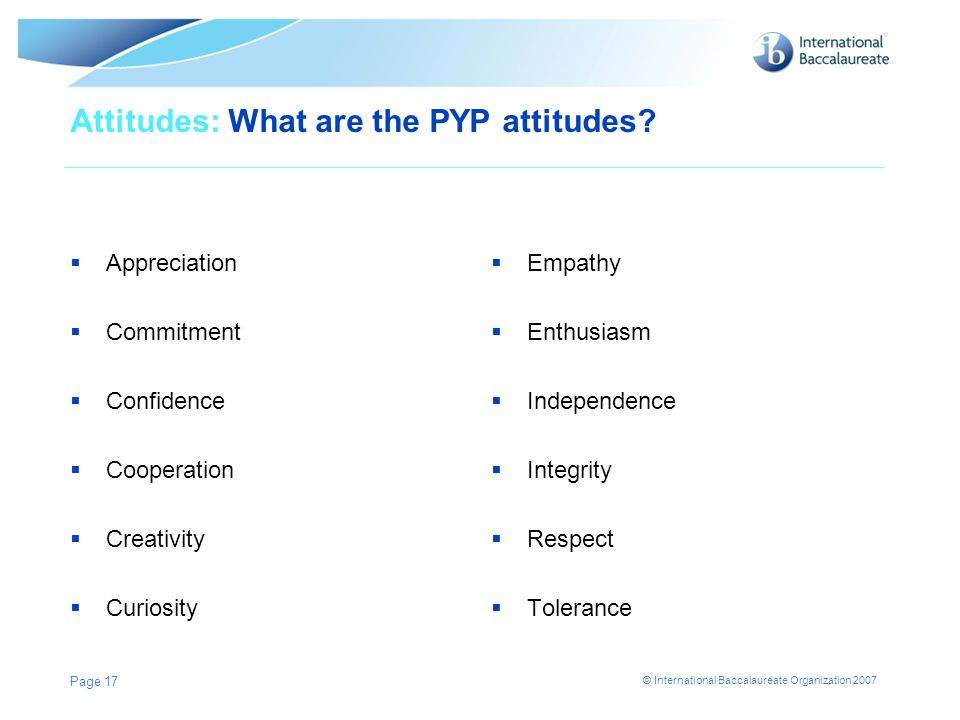 Attitudes: What are the PYP attitudes