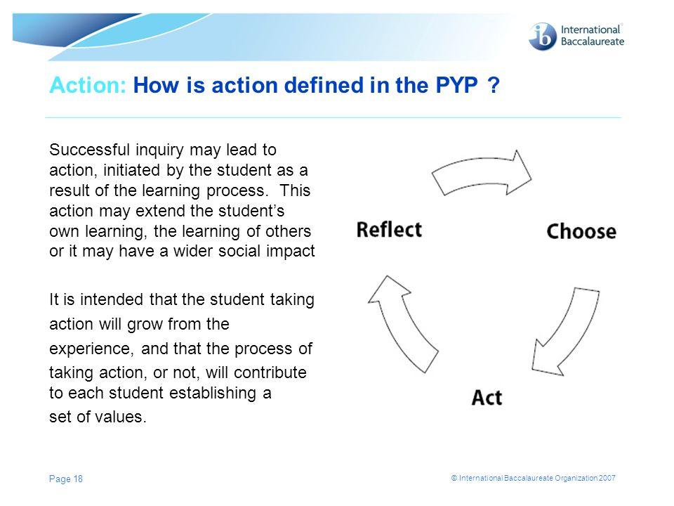 Action: How is action defined in the PYP