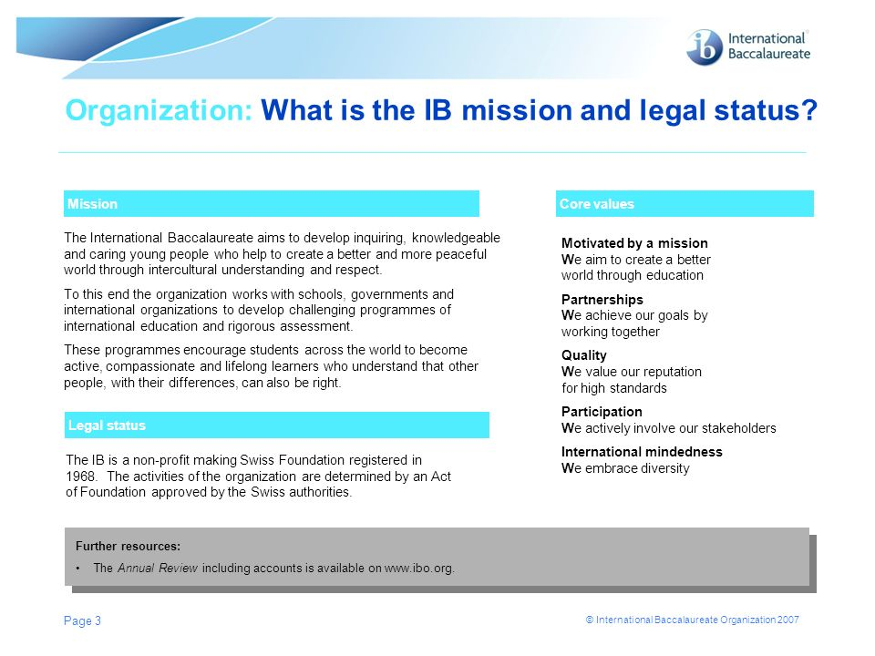 Organization: What is the IB mission and legal status