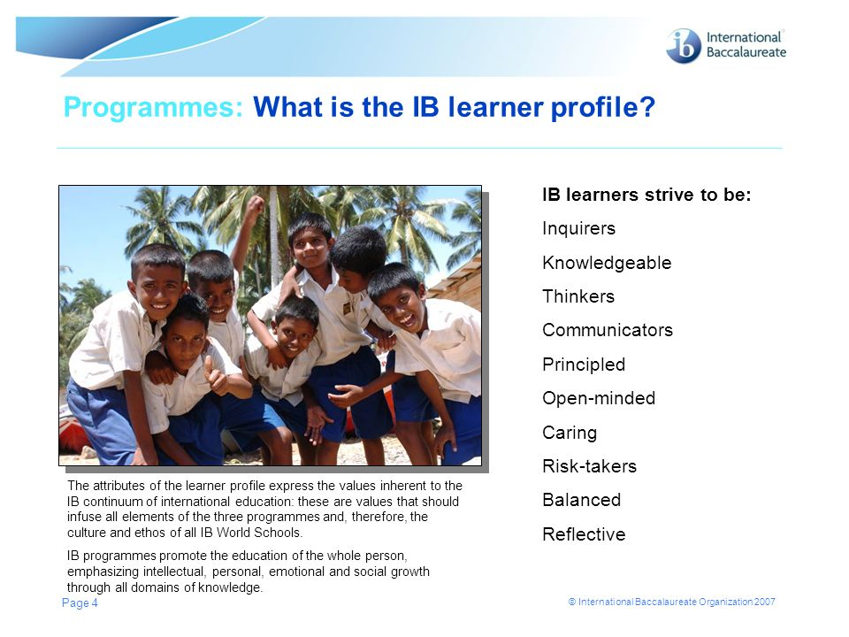 Programmes: What is the IB learner profile