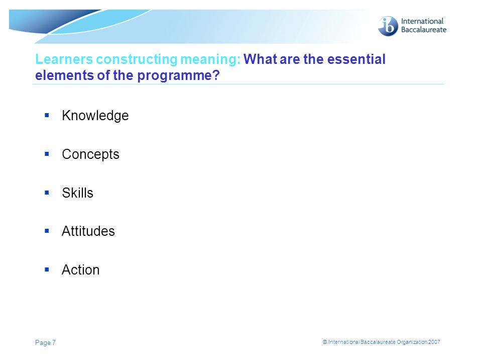 Learners constructing meaning: What are the essential elements of the programme