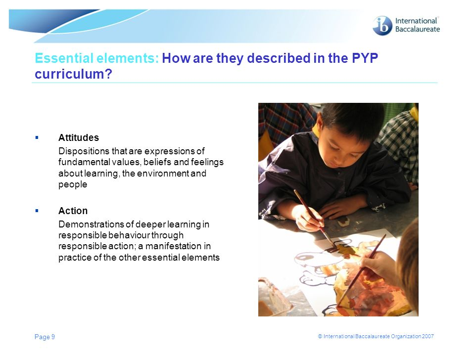 Essential elements: How are they described in the PYP curriculum