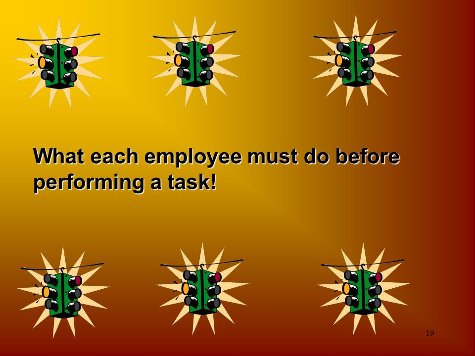 What each employee must do before performing a task!