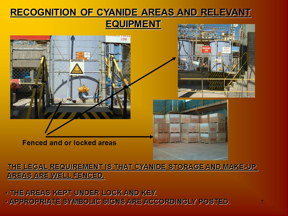 RECOGNITION OF CYANIDE AREAS AND RELEVANT EQUIPMENT
