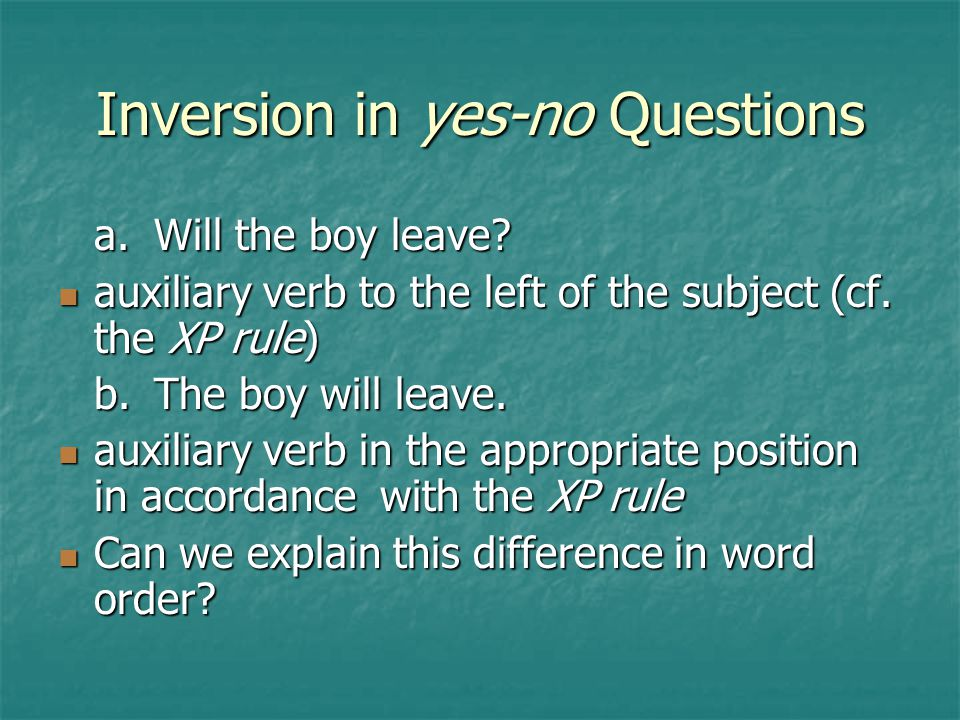 Inversion in yes-no Questions
