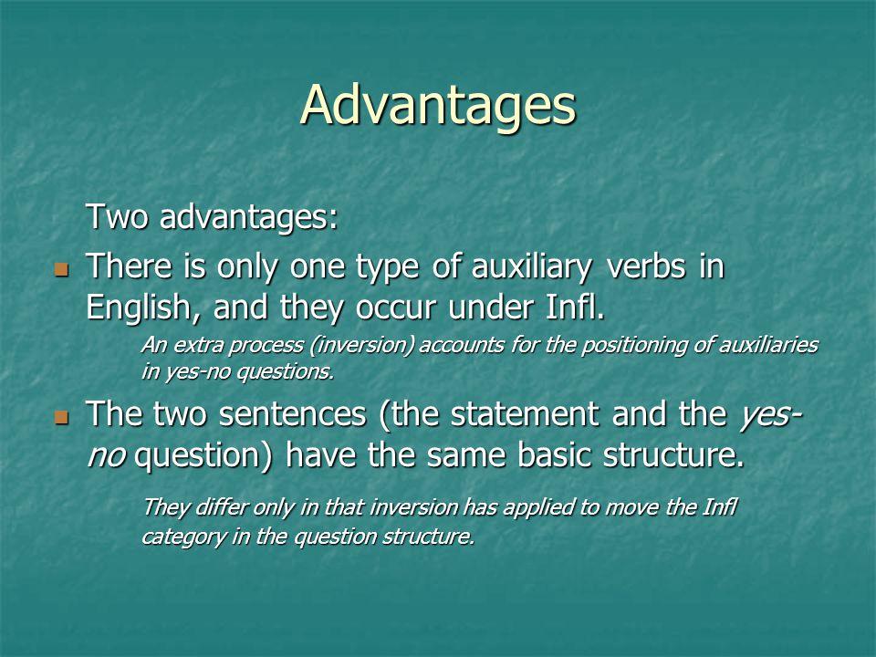 Advantages Two advantages: