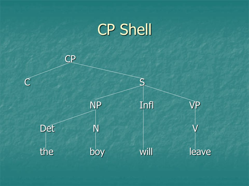CP Shell CP C S NP Infl VP Det N V the boy will leave