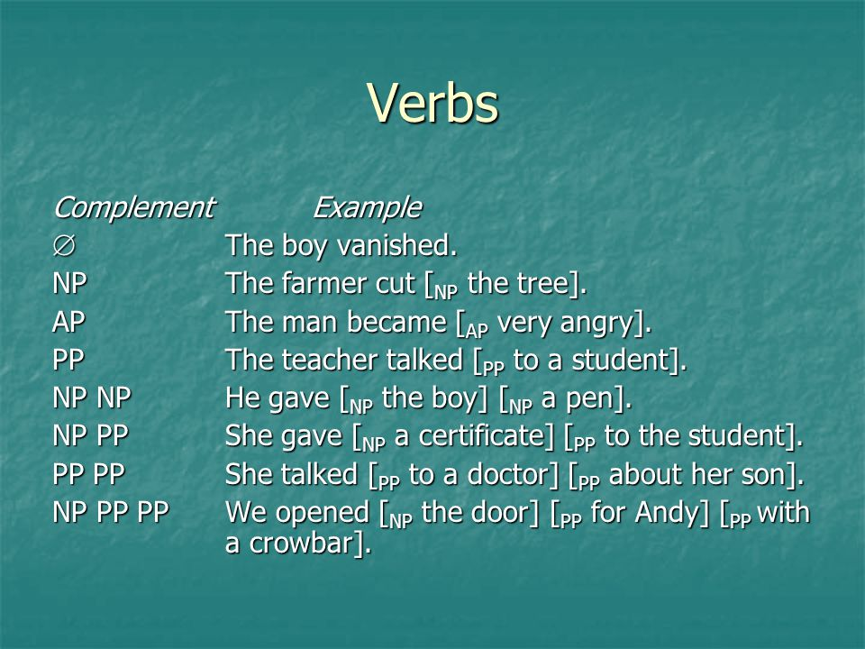 Verbs Complement Example  The boy vanished.