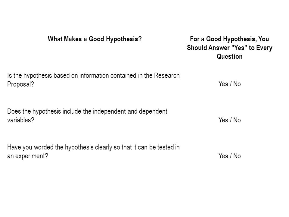 What Makes a Good Hypothesis