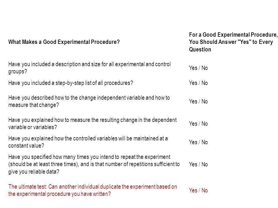 What Makes a Good Experimental Procedure