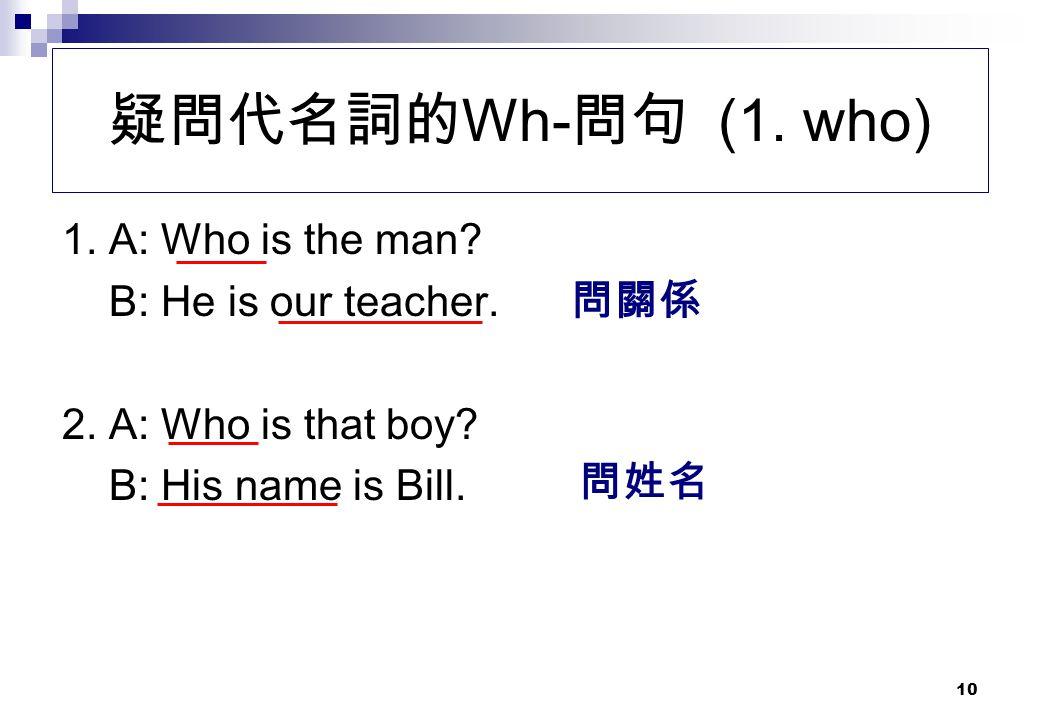 疑問代名詞的Wh-問句 (1. who) 1. A: Who is the man B: He is our teacher. 問關係