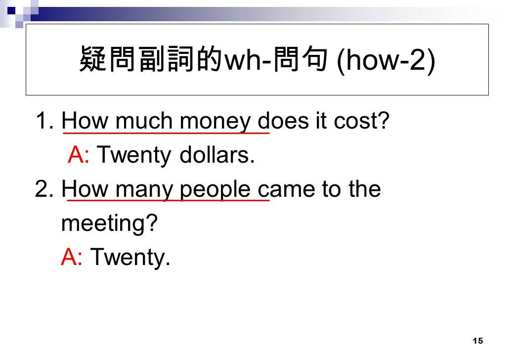 疑問副詞的wh-問句 (how-2) 1. How much money does it cost A: Twenty dollars.