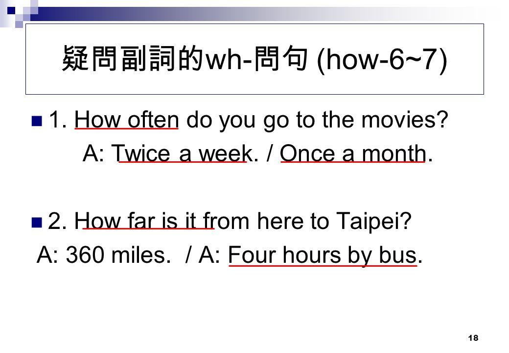疑問副詞的wh-問句 (how-6~7) 1. How often do you go to the movies