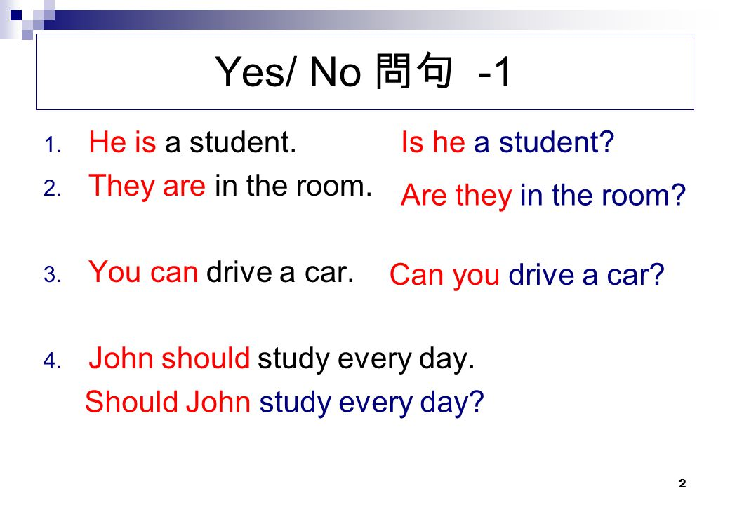 Yes/ No 問句 -1 He is a student. They are in the room.