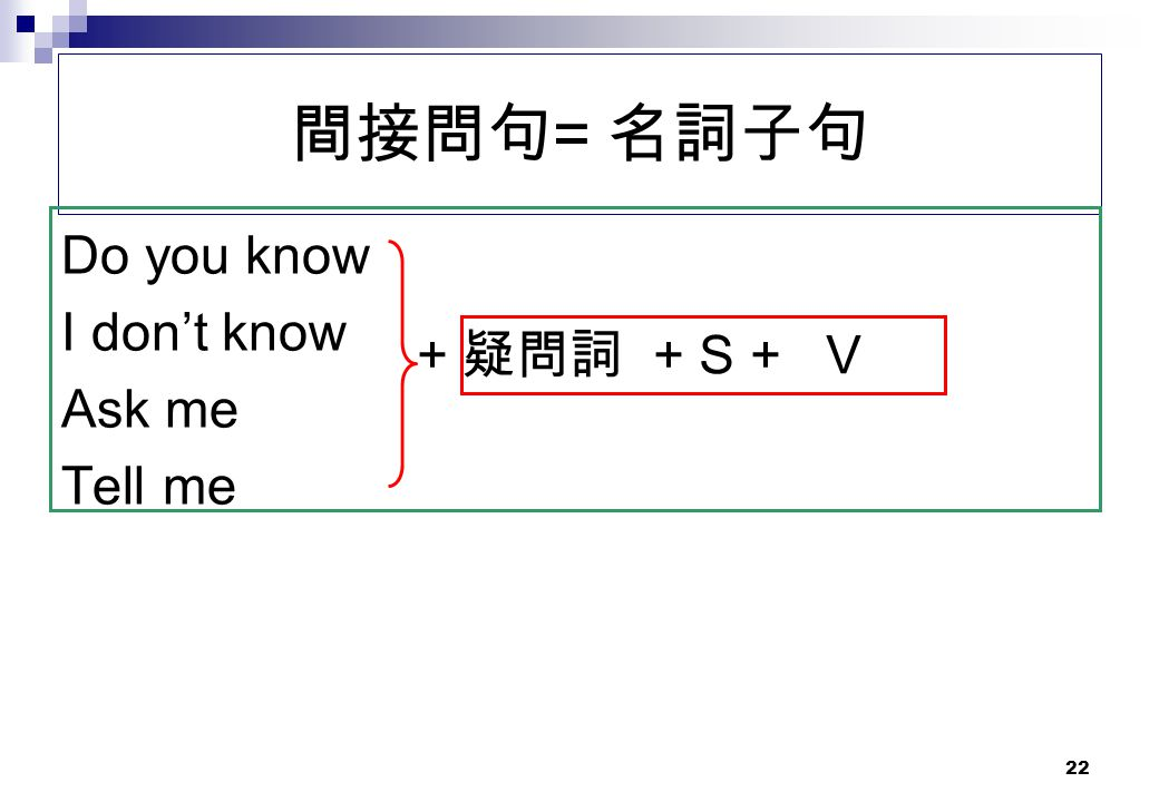 間接問句= 名詞子句 Do you know I don't know Ask me Tell me + 疑問詞 + S + V