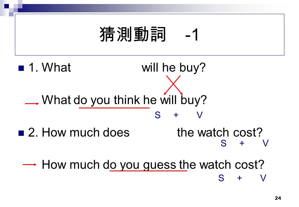 猜測動詞 -1 1. What will he buy What do you think he will buy