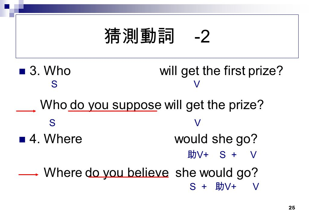 猜測動詞 -2 3. Who will get the first prize