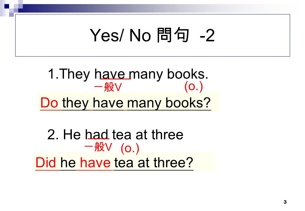 Yes/ No 問句 -2 1.They have many books. Do they have many books