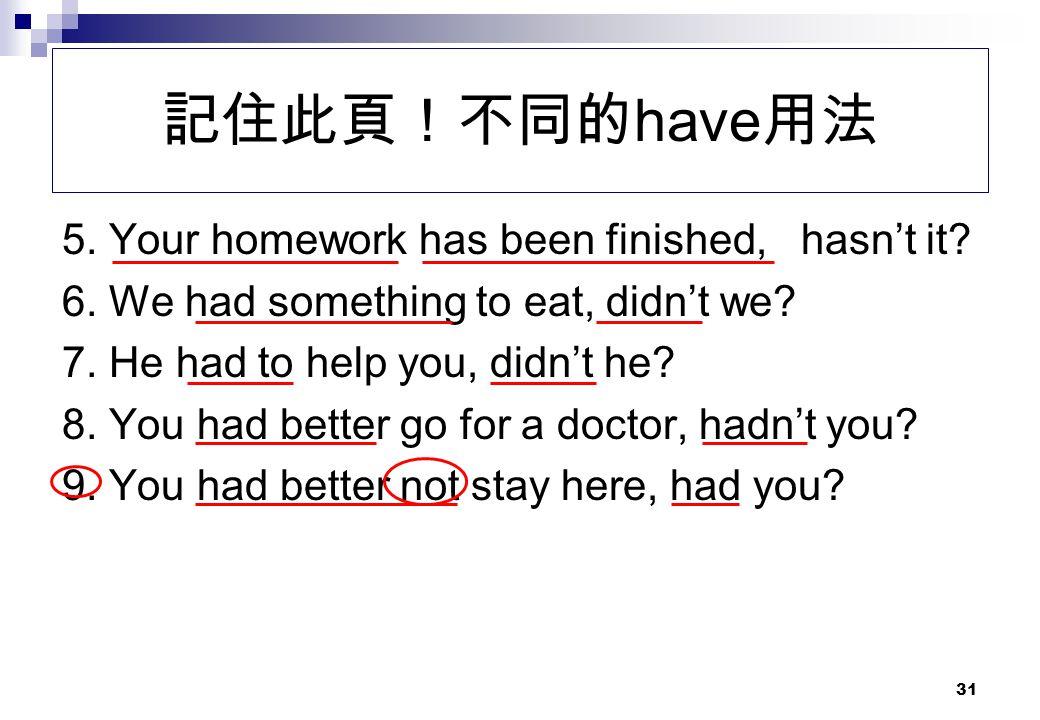 記住此頁!不同的have用法 5. Your homework has been finished, hasn't it