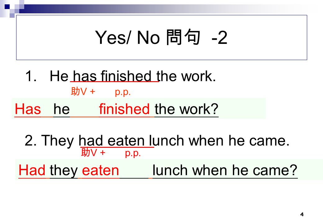 Yes/ No 問句 -2 1. He has finished the work.