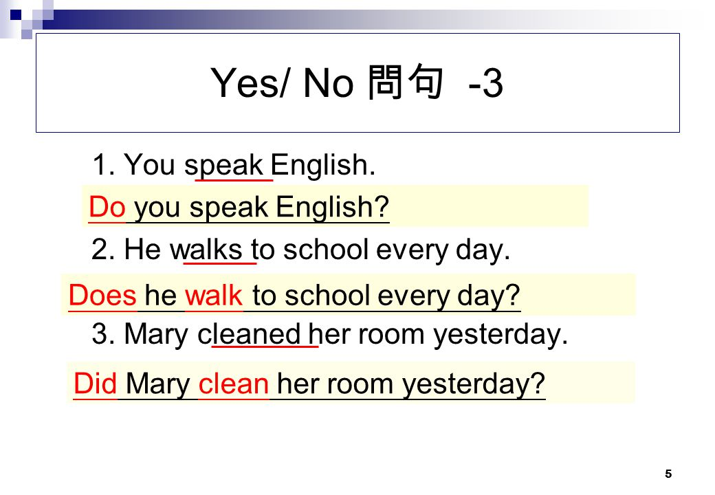 Yes/ No 問句 -3 1. You speak English. 2. He walks to school every day.