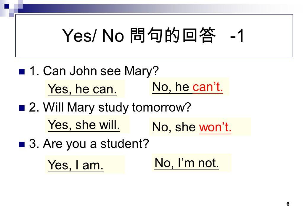 Yes/ No 問句的回答 -1 密訣: 用be動詞問用be動詞回答 1. Can John see Mary
