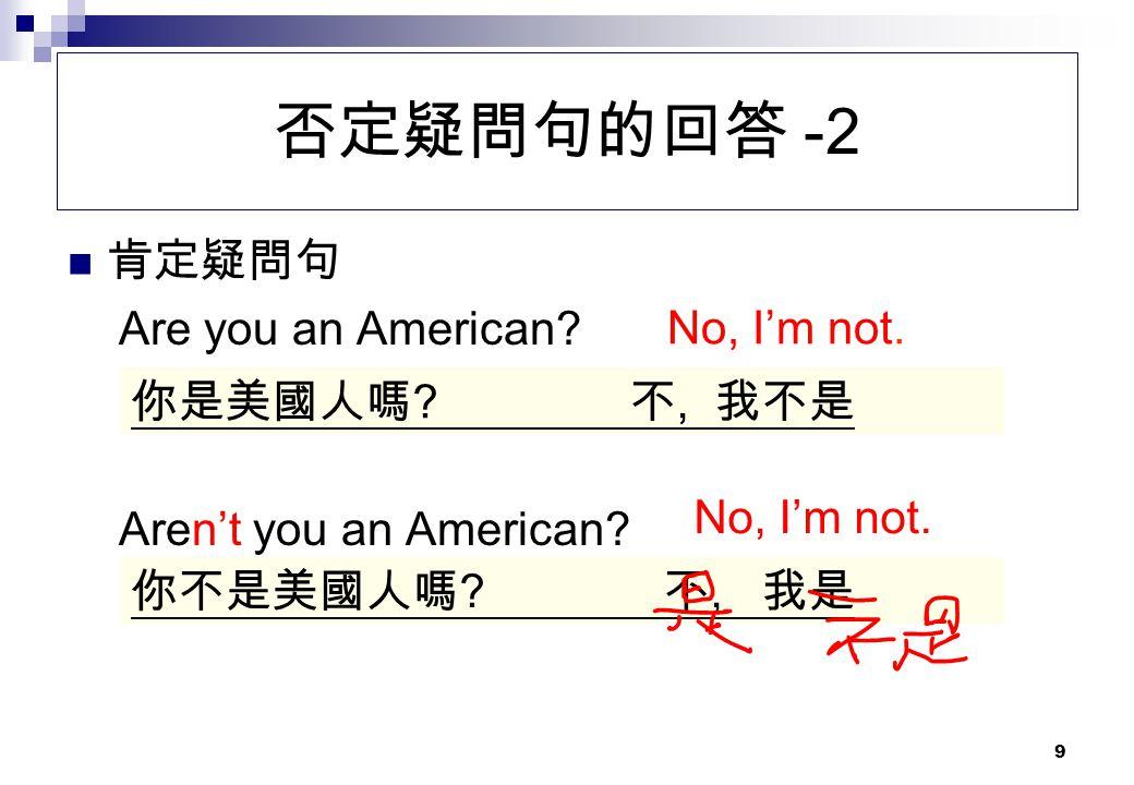 否定疑問句的回答 -2 肯定疑問句 Are you an American No, I'm not.