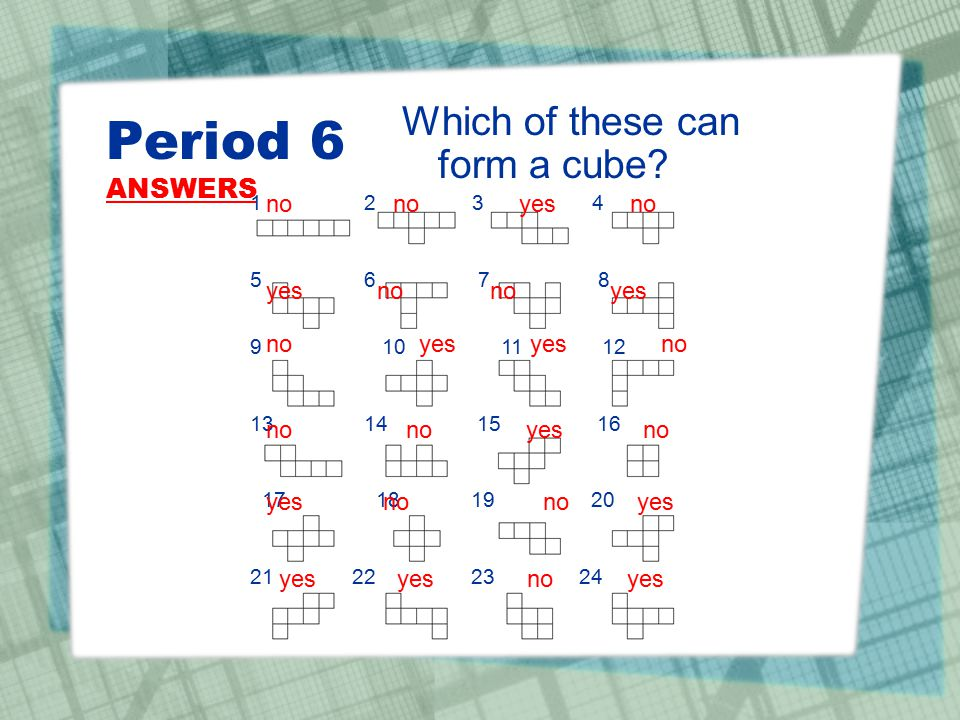 Period 6 ANSWERS Which of these can form a cube no no yes no