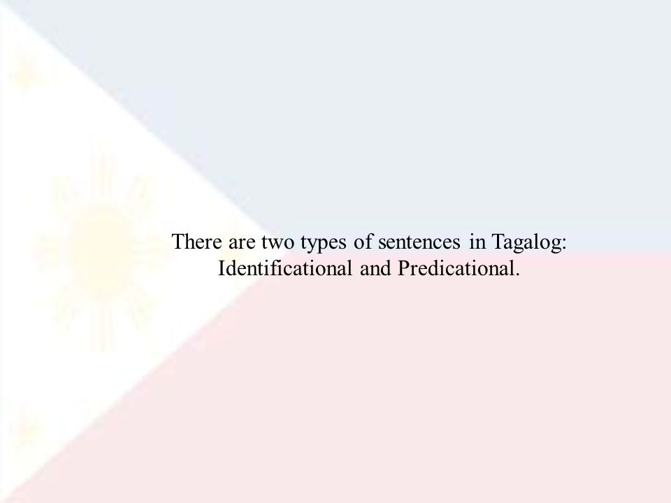 There are two types of sentences in Tagalog: Identificational and Predicational.