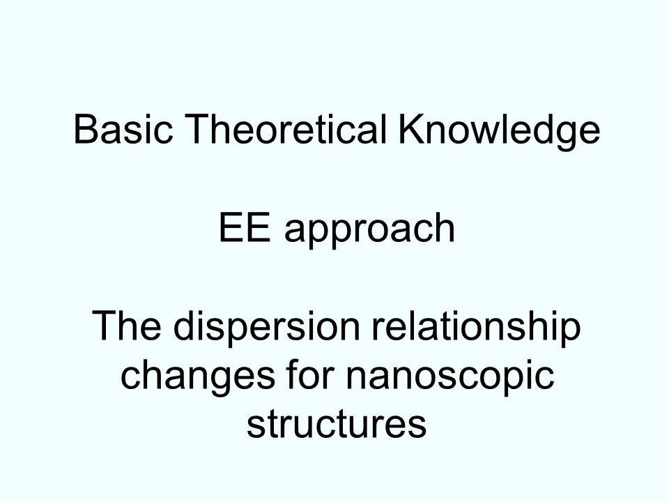 Basic Theoretical Knowledge EE approach The dispersion relationship changes for nanoscopic structures