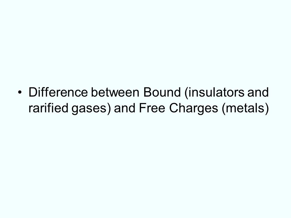 Difference between Bound (insulators and rarified gases) and Free Charges (metals)