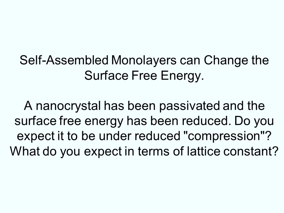 Self-Assembled Monolayers can Change the Surface Free Energy