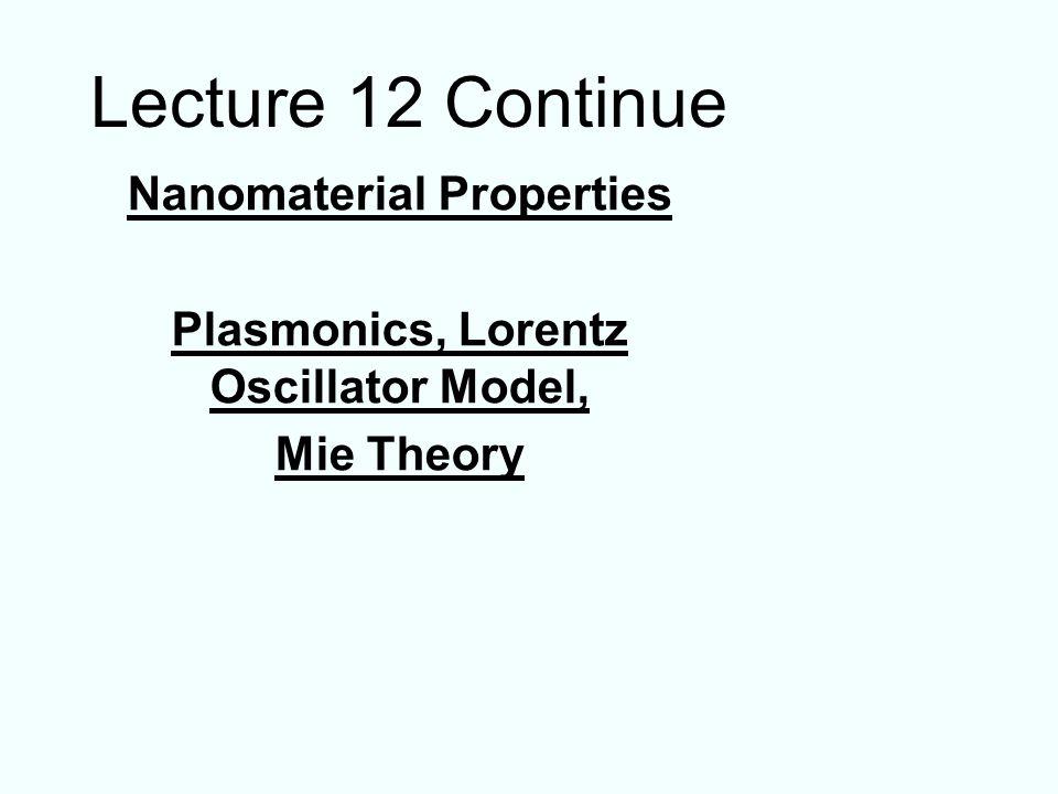 Nanomaterial Properties Plasmonics, Lorentz Oscillator Model,
