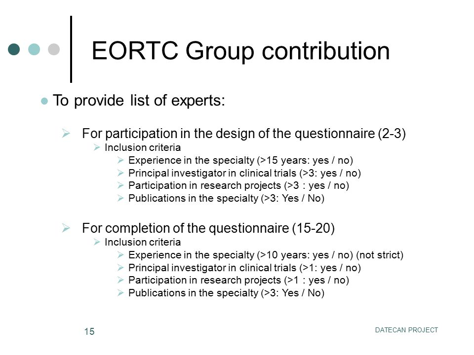 EORTC Group contribution