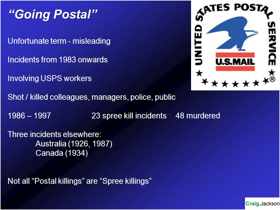 Going Postal Unfortunate term - misleading