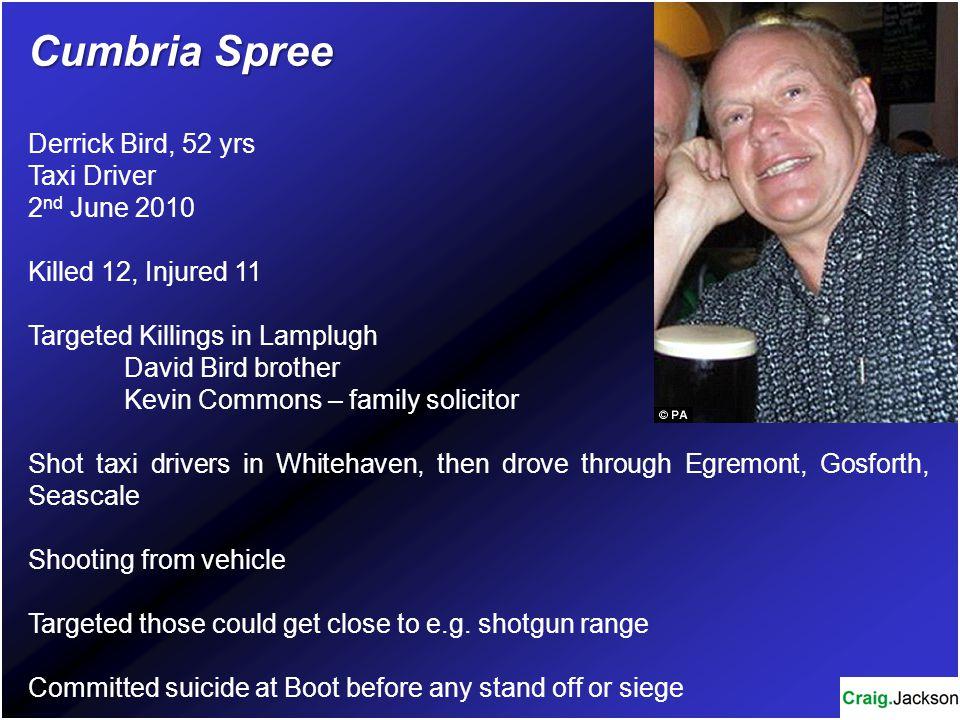 Cumbria Spree Derrick Bird, 52 yrs Taxi Driver 2nd June 2010