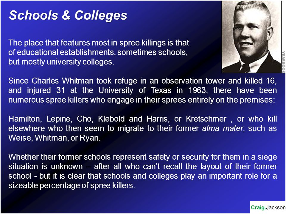 Schools & Colleges The place that features most in spree killings is that. of educational establishments, sometimes schools,