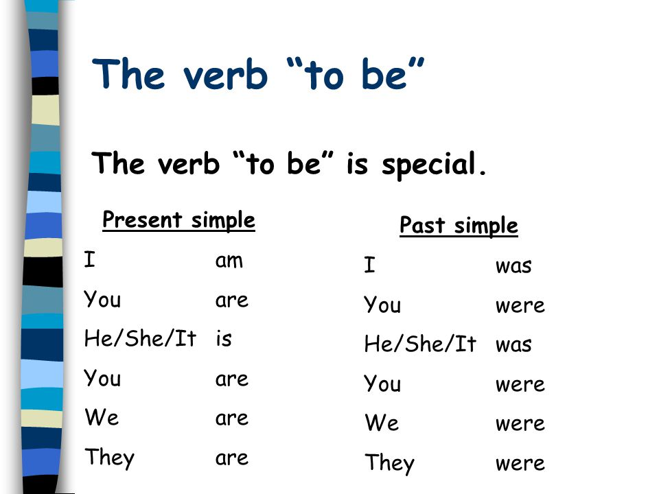 The verb to be The verb to be is special. Present simple