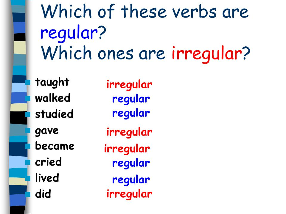 Which of these verbs are regular Which ones are irregular