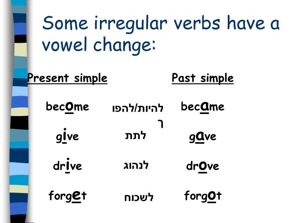 Some irregular verbs have a vowel change: