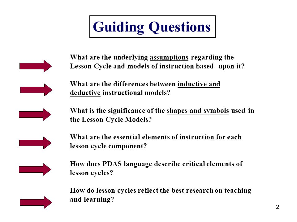 Guiding Questions What are the underlying assumptions regarding the Lesson Cycle and models of instruction based upon it