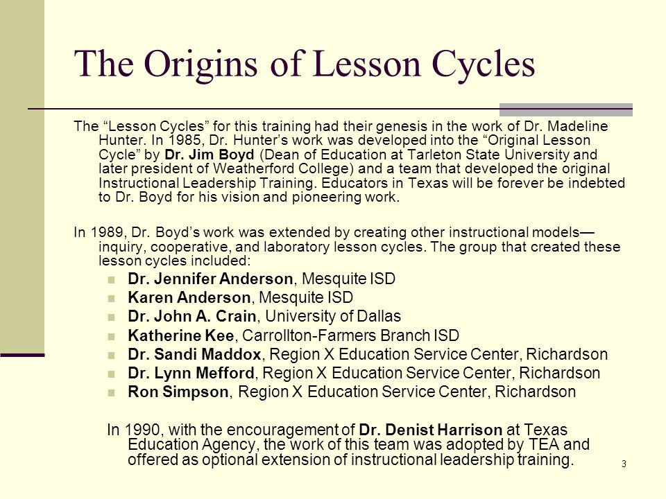 The Origins of Lesson Cycles